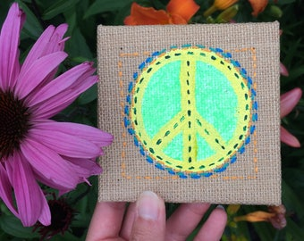 Yellow Peace Sign Burlap