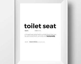 Printable Funny Toilet Print - Funny Toilet Sign - Funny Toilet Quote - Funny Toilet Art - Typography Print - Toilet Seat Definition Poster