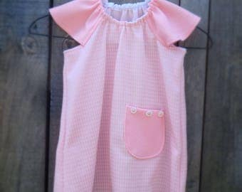 Handmade Dress, Upcycled from Vintage fabric, Pink Dress age 18 - 24 months.