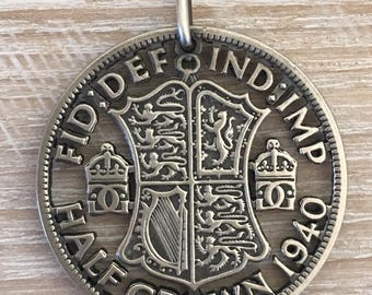 Silver Half Crown Coin Pendant
