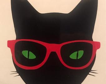 Nerdy Black Cat