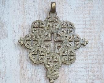 Large Ornate Brass Cross Pendant, Cut Out Cross Pendant
