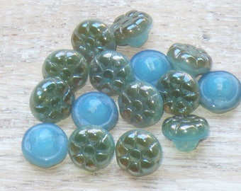 12mm Czech Glass Grape Flower Button Beads Champagne and Blue Luster (15pcs) - Czech Glass Beads-Flower Button Beads