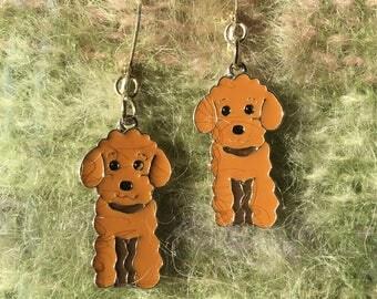 Brown Poodle earrings.