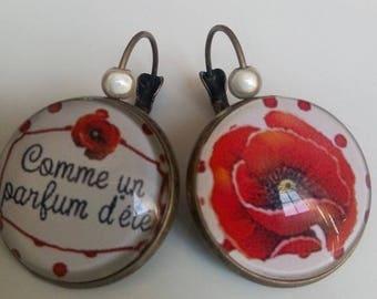 """poppy"" with pearls earrings"