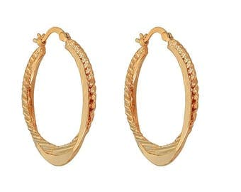 14k Yellow Gold Filled 1 Solid &1 Lined Loop Royal Earring