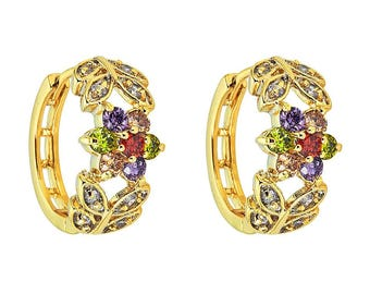 14K Yellow Gold Filled Huggie Earring with Multicolored Center Stones