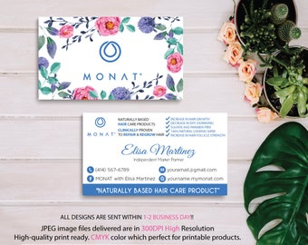 Monat Business Card, Custom Monat Business Card, Floral Flower Business Card, Custom Monat Hair Care Card, Printable Business Card MN05