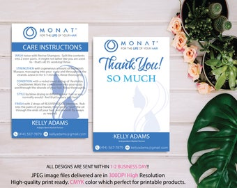 Monat Care Instruction, Monat Care Card, Monat Thank you card, Fast Free Personalization, Custom Monat Hair Care Card, Printable file