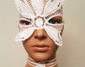 Costume couture Mask,Italian mask,Ready to ship,White fetish,Entertainment,Headpiece,Luxury fetish,Costume Couture,Made In Italy,Vogue party