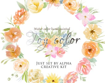 Watercolor flower clipart - Toy color - creative kit