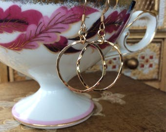 14K Gold Filled Hammered Organic Circle Earrings-Gold Filled Circle Dangle Earrings-Yellow Gold Filled Circle Earrings-Minimal Gold Earrings