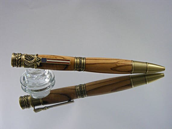 American Patriot Ink Pen in Antique Brass and Bethlehem Olivewood