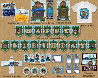 Maui of Moana For Boy Birthday Party Package Bundle Tribal DIY Kit Banner Invitation Thank You Card Tags Favor Stickers Shirt - Digital File