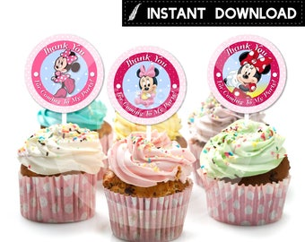 Instant Download - Baby Minnie Mouse Cupcake Topper Thank You Tag Favor Sticker Pink Polka Dots Birthday Party Printable DIY - Digital File