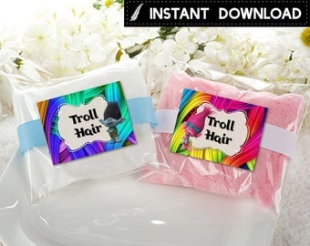 Instant Download - Troll Hair Trolls Cotton Candy Label Favor Label Stickers Poppy Branch Birthday Party Favors Printable DIY - Digital File