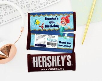Personalized The Little Mermaid Ariel Hershey's Chocolate Bar Wrapper Hersheys Flounder Sebastian Printable DIY - Digital File