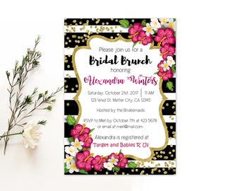 Personalized Bridal Brunch Party Invitation Black White Stripes Tropical Flowers Hibiscus Gold Confetti Accent Printable DIY - Digital File