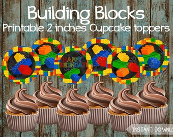 Building Blocks Cupcake Toppers, Printable Building Blocks Cupcake toppers, Building Blocks Birthday Party Decorations, Building Blocks Cake