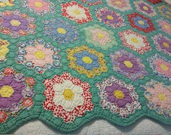 Vintage Handmade Flower Quilt