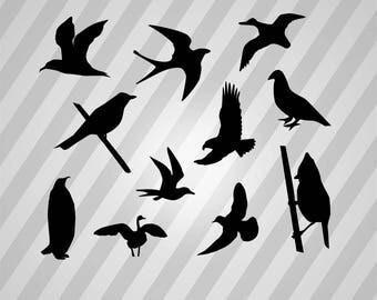 Birds Silhouette - Svg Dxf Eps Silhouette Rld Rdworks Pdf Png Ai Files Digital Cut Vector File Svg File Cricut Laser Cut