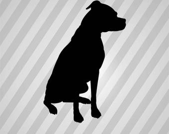 boxer dog sitting Silhouette - Svg Dxf Eps Silhouette Rld RDWorks Pdf Png AI Files Digital Cut Vector File Svg File Cricut Laser Cut