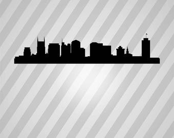 nashville skyline Silhouette - Svg Dxf Eps Silhouette Rld RDWorks Pdf Png AI Files Digital Cut Vector File Svg File Cricut Laser Cut