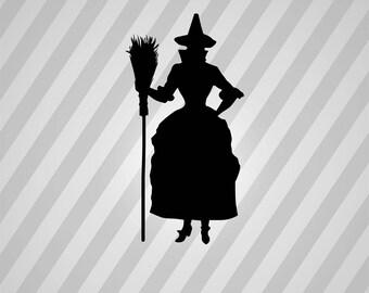 witch Silhouette - Svg Dxf Eps Silhouette Rld RDWorks Pdf Png AI Files Digital Cut Vector File Svg File Cricut Laser Cut