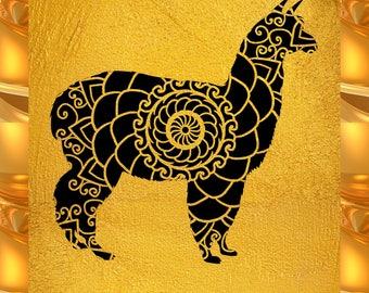 Alpaca Papercut Template Mandala Henna - Svg Paper Cut Templates Stencil Line Art Pdf Cut Files Digital Clip Art Drawing