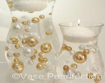 Gold Pearls and White Pearls Vase Fillers in Jumbo & Assorted Sizes for Centerpieces and Tablescapes