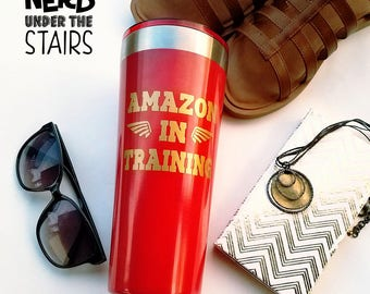 Amazon in Training 30oz Tumbler, Wonder Woman Inspired Travel Mug, Red and Gold Ice Cold Tumbler, Fun and Nerdy Gift for Her, Geeky Gift,