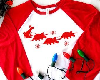 Ugly Christmas Raglan T-shirt, T-Rex Santa Shirt, Dinosaur Christmas T-shirt, Funny Christmas Shirt, Merry Rex-Mas Shirt, X-mas Baseball Tee
