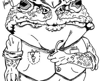 Animals in People Clothes- Cantankerous Cane Toad