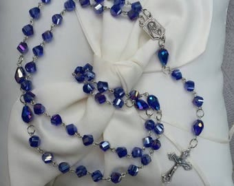 Sapphire Blue Crystal Catholic Rosary with Our Lady of Fatima Center