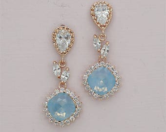 Blue opal earrings,blue earrings wedding earrings opal bridal earrings rose gold swarovski rhinestone earrings something blue silver gold