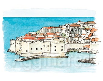 Dubrovnik Croatia / art print from an original watercolor painting