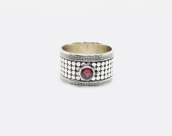 Garnet Band Ring in 925 Sterling Silver, Oxidised Silver Band Ring, 92.5% Silver Ring