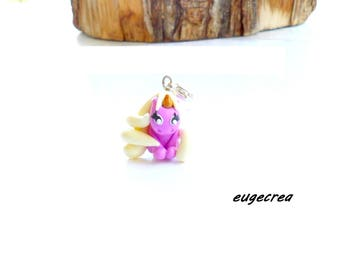 Dark pink and yellow pastel Unicorn charm with polymer clay