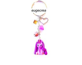 Unicorn Keychain purple polymer clay