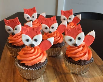 Red Fox Fondant Cupcake Toppers x 6