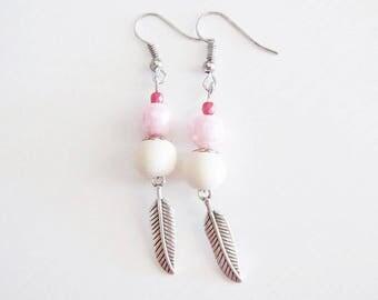 Bohemian dangle earrings refined wood and feathers