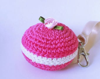 mounted cute macaroon ring keychain or bag charm