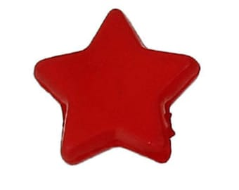"set of 50 acrylic beads ""Star""Red 10 X 9 mm (1.5 mm hole)"