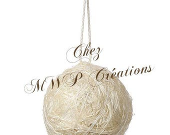 Ball of sisal with twine (diam.4cm) - Ivory - set of 4
