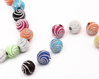 X 10 acrylic spiral round beads 8mm, mix colors