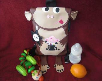 Bag bag/nursery/preschool to snack bag/blanket child monkey Brown and beige leatherette