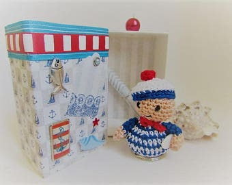 crochet sailor in its gift box