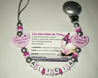 """Pacifier clip personalized """"I love my mommy/Daddy"""""""