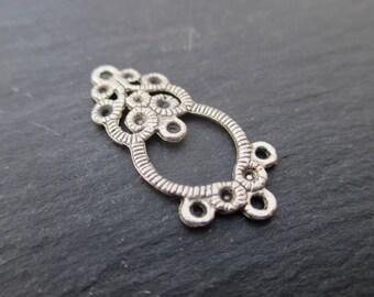 Connectors 1 + 1 + 5 ties of silver metal 26 mm * 4