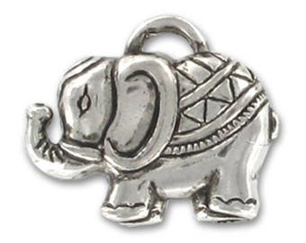 Antique CBB 29 mm * 35 mm silver plated elephant Pendant * 1